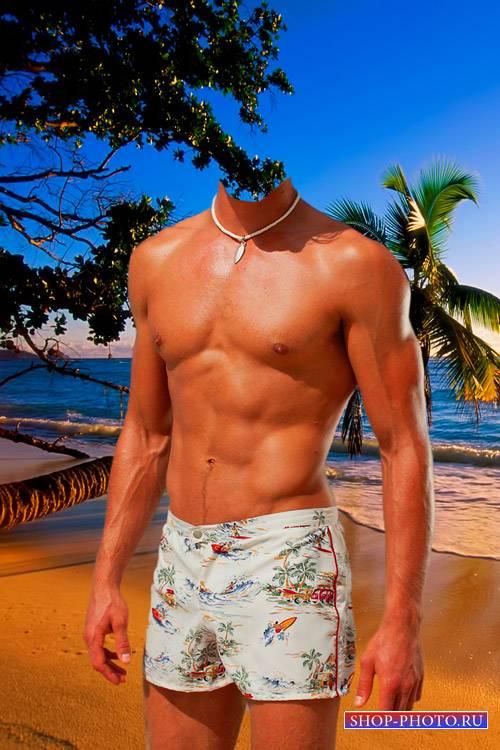 Шаблон для фотошопа  - Мужчина на пляже