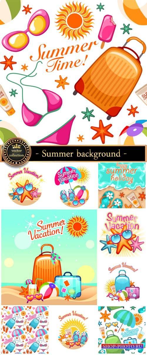 Summer vector background with elements of the sea