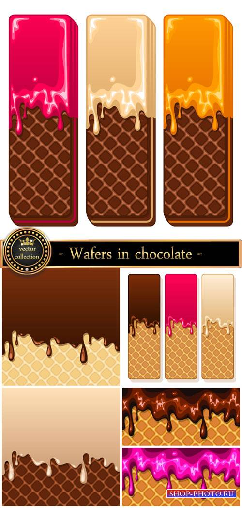 Wafers in chocolate, vector backgrounds