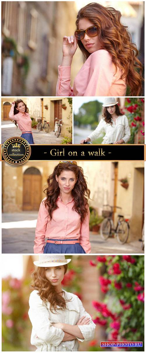 Girl on a walk - stock photos