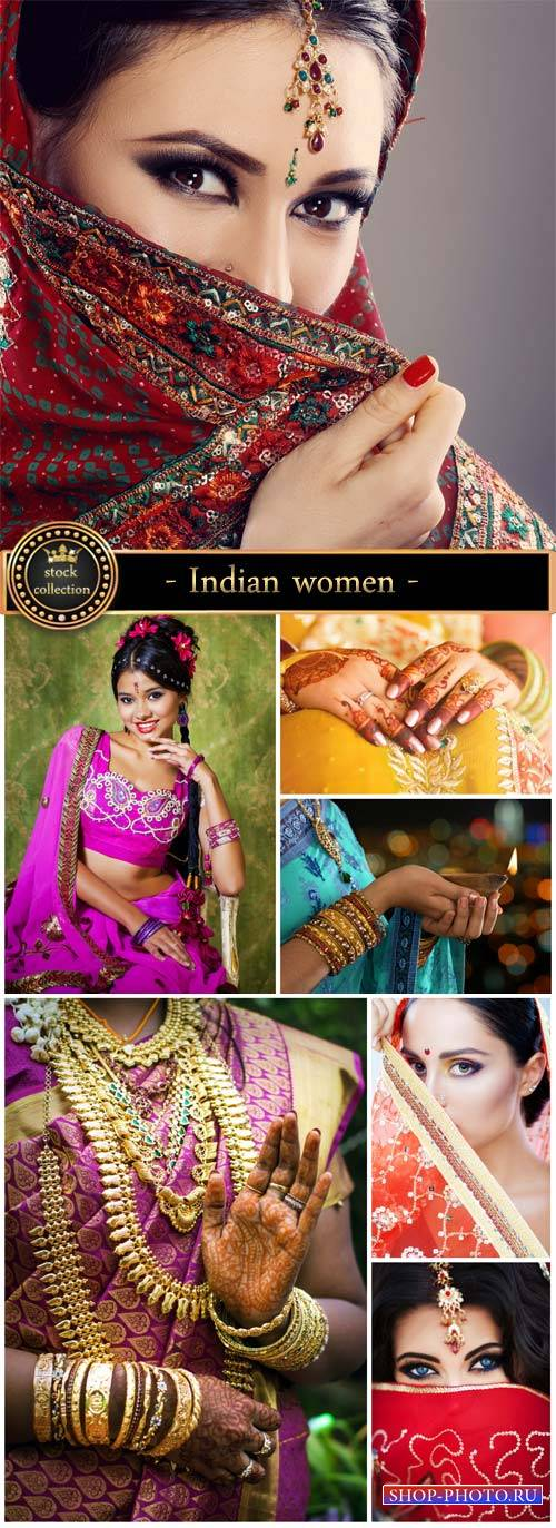 Indian women, paintings on hand - Stock Photo