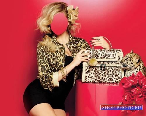 Шаблон для фотомонтажа - Девушка и маленький леопард