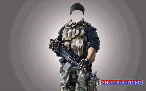 Шаблон для Photoshop - Солдат в камуфляже