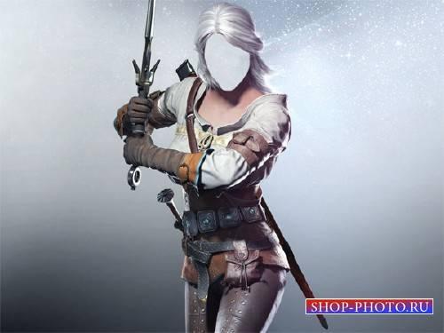 PSD шаблон для девушек - Девушка воин с мечом