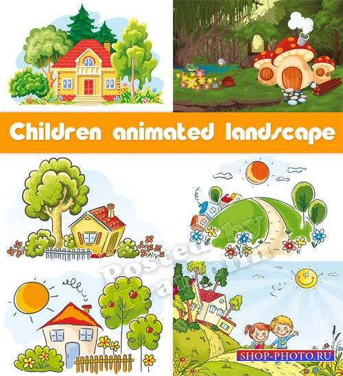 Мультипликационный пейзаж - Детский рисованный вектор