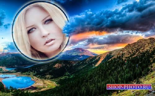 Рамка для фотошоп - Великолепный закат среди гор