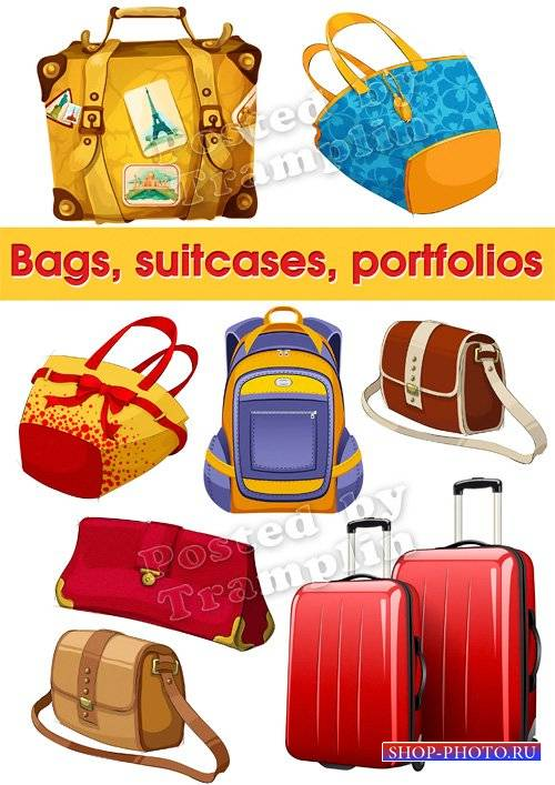Сумки, чемоданы, портфели – Клипарт на прозрачном фоне