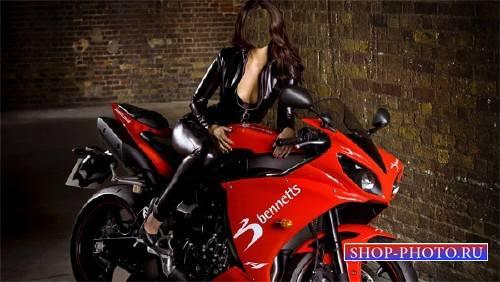 Шаблон для Photoshop - На спортивном мотоцикле