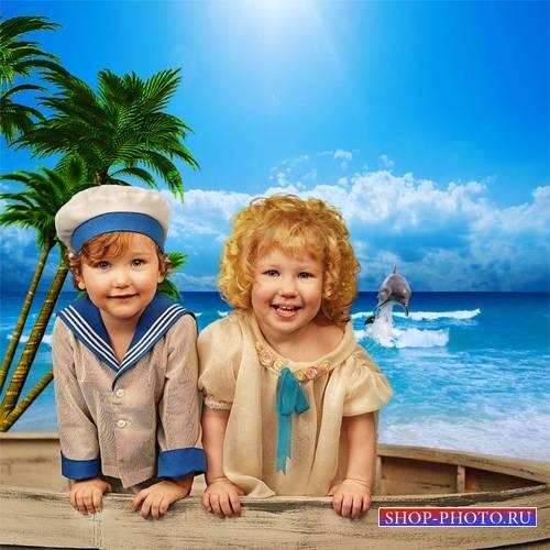Шаблон  парный детский - Морячки