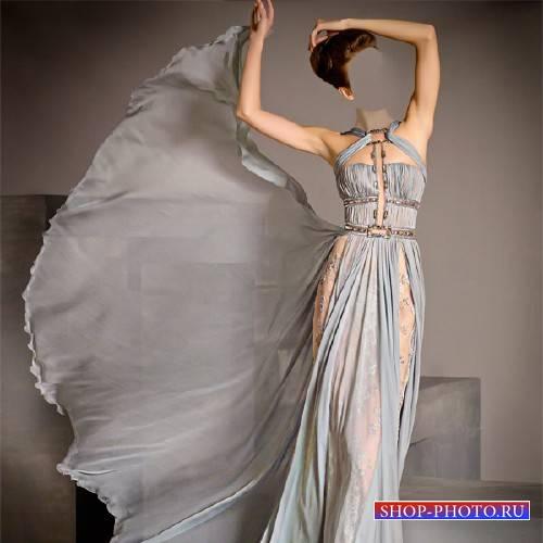 Шаблон для фотошопа - Девушка в шикарном платье