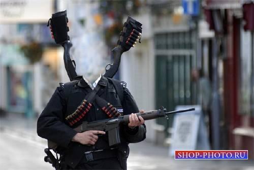 Шаблон psd мужской - Крутой полицейский