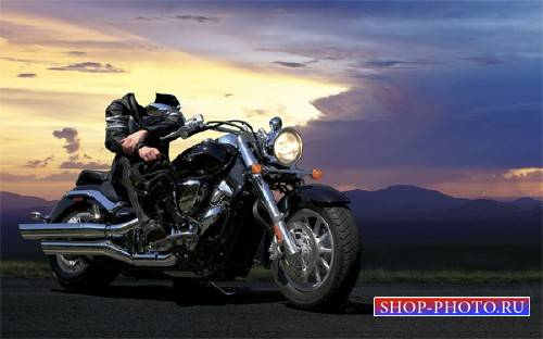 Шаблон psd - Байкер на мотоцикле