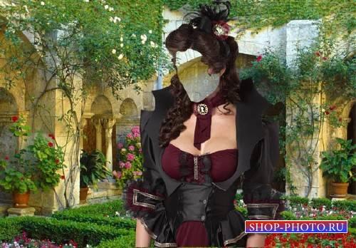 Шаблон для фото - Дама в красивом саду