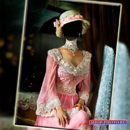 Фото шаблон - В старинном розовом наряде