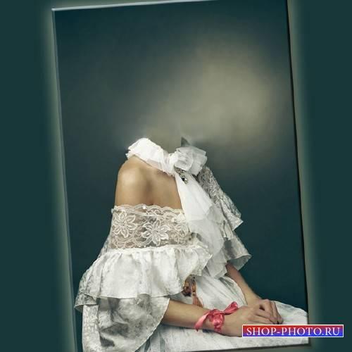Шаблон psd женский - В белом женском костюме