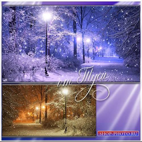 Зима. Парк. Вечер. Снег - Футажи для видеомонтажа