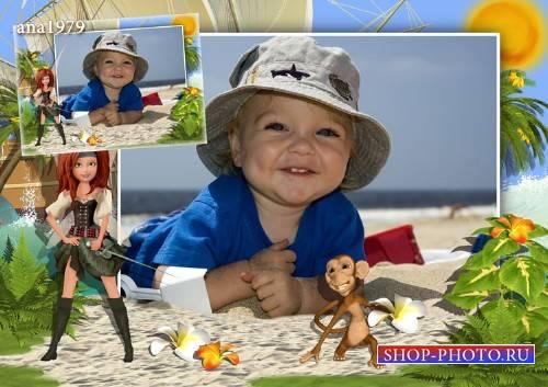 Рамка для фотошопа - Цветок от обезьянки