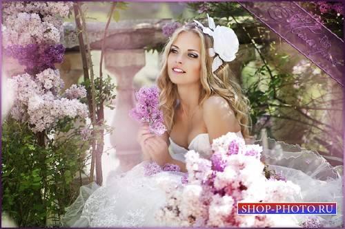 Женский свадебный щаблон для фотошопа - Запах сирени