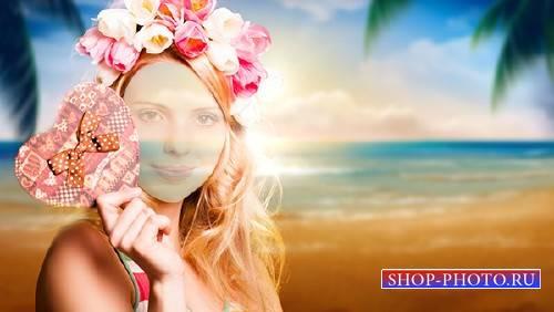 Шаблон psd женский - На пляже