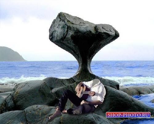 Шаблон psd - Гитарист сидя на камне