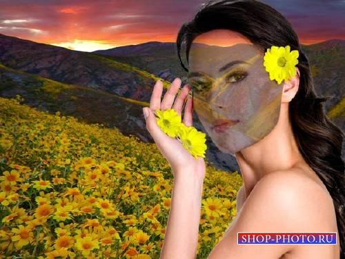 PSD шаблон для девушек - Цветочные горы
