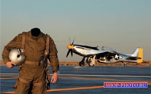 Шаблон psd мужской - Летчик самолета