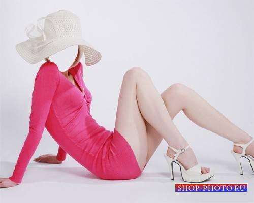 Шаблон для фото - В платье и шляпе