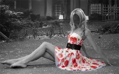 Шаблон для фотомонтажа - Креативное фото в платье