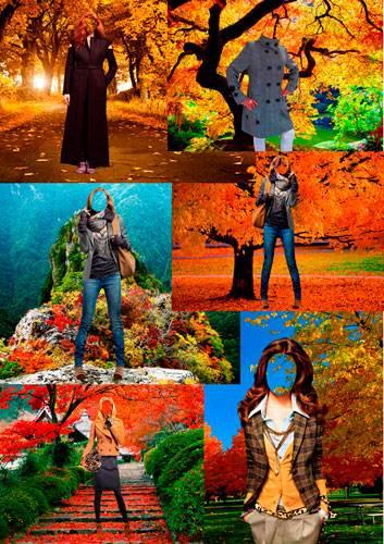 Шаблоны для фотошопа  - Осенняя прогулка