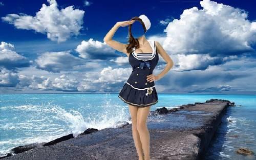 Шаблон psd женский - В костюме морячки у моря