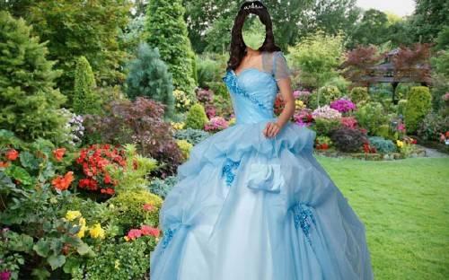 Шаблон женский - В голубом наряде в саду