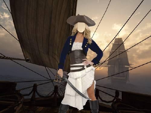 Шаблон женский - Пиратка на палубе корабля