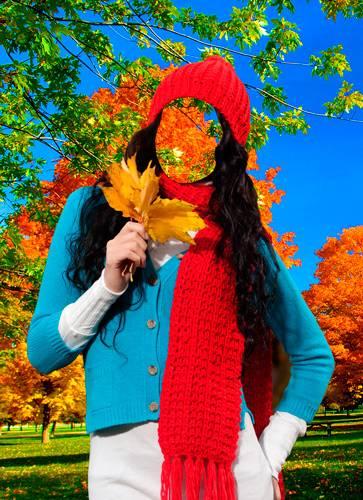 Шаблон для фотошопа  - Осенью
