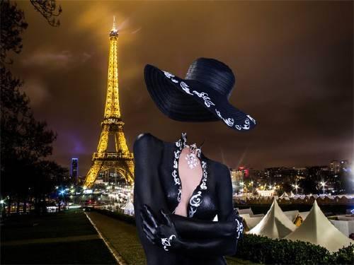 PSD шаблон для девушек - В платье по улицам Парижа