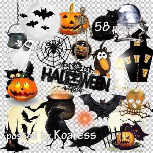 Клипарт на прозрачном фоне к Хэллоуину - тыквы, коты, летучие мыши