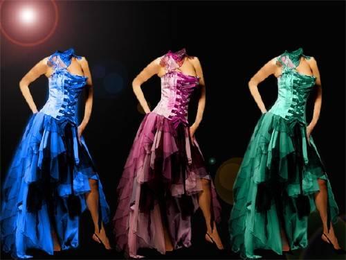 Шаблон psd женский - В платье разных цветов