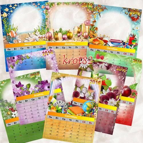 Перекидной календарь с рамками для фото на 2016 – Времена года