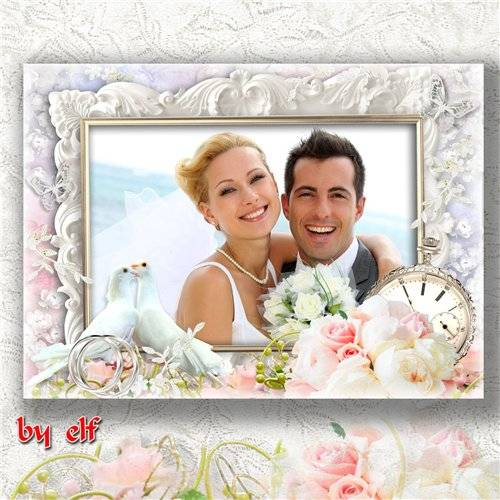 Свадебная рамка для фото - Слились два сердца воедино