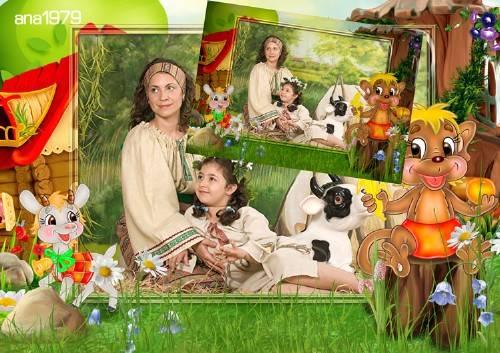 Рамка для фотошопа - Коза и обезьяна