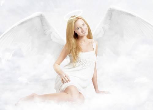 Шаблон для фотошопа - Ангел в облаках