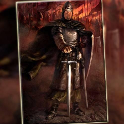 PSD шаблон для мужчин - Великий король в доспехах в бою
