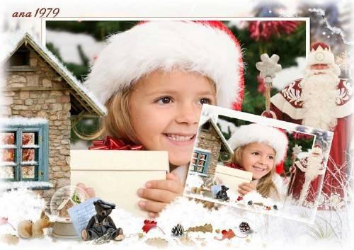 Рамка для фотошопа - В гостях у дедушки Мороза