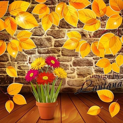 PSD исходник - Это осени причуды - желтый лист и астры смелой цвет