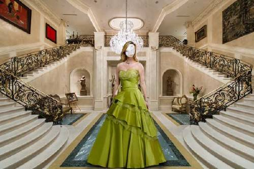 Шаблон для фотошопа - В пышном платье в холле виллы