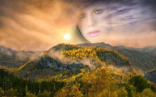 Рамка для фотомонтажа - Осенний закат в горах