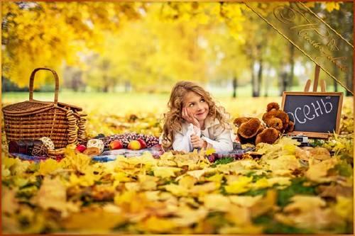 Осенний детский шаблон для фотошопа - Милые кудряшки