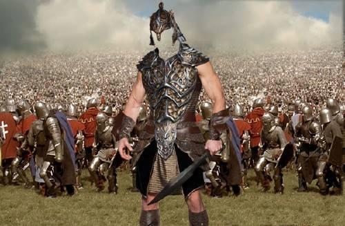 Мужской костюм - Солдат средневековья в доспехах на поле боя