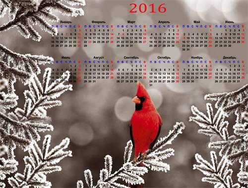 Календарь на 2016 год – Птичка певчая