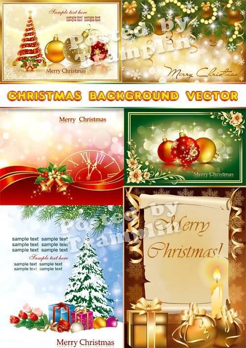 Новогодние и рождественские фоны в векторе
