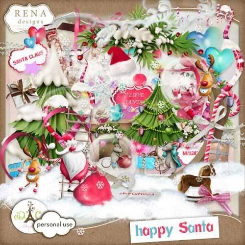 Новогодний скрап-комплект - Счастливый Санта